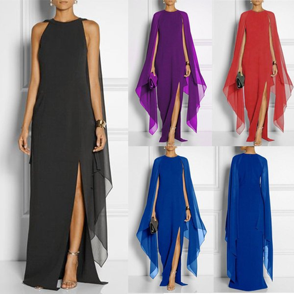4 Colour S-5XL Women's Lady Sleeveless Solid Color Casual Split Chiffon Party Summer Loose Maxi Dress Long Off Shoulder Party