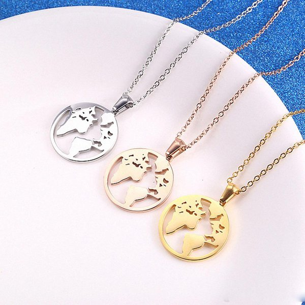 World Map Necklace Globe Earth Continent Pendant Necklaces Simple Minimalist Travel Map Globetrotter Jewelry Gap Year Gifts