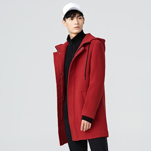 gxg.jeans men's winter red wool youth casual long hooded woolen coat 64626179