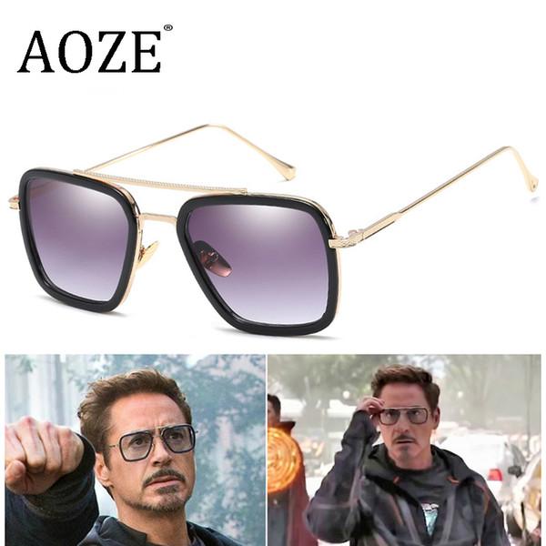 Männer Vintage Steampunk Sonnenbrillen Marke Designer Tony Stark Iron Man Brille Retro Winddicht Stea Punk Sonnenbrille Gafas Oculos