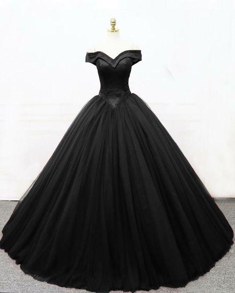 2019 New Ball Gown Black Gothic Wedding Dresses Off the Shoulder Basque Waist Corset Back Floor Length Women Vintage Non White Bridal Gown
