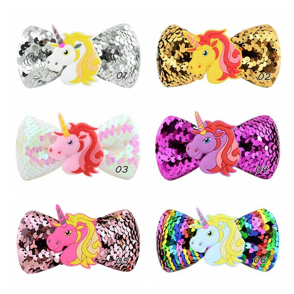 Mix 6 Colors Baby Girls Unicorn Sequin Hairpin Rainbow Horse Star Duck Bill Clip Barrettes Headdress Kids Cosplay costumes Hair Accessories