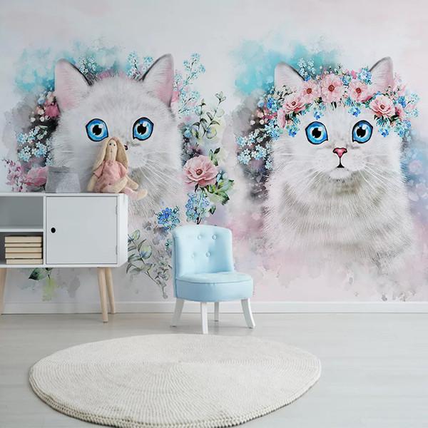 Personalizado Murais de Parede 3D Foto Papel De Parede de Flores Gato Menina Quarto Quarto de Crianças Quarto Decoração de Fundo Parede de Pintura de Parede