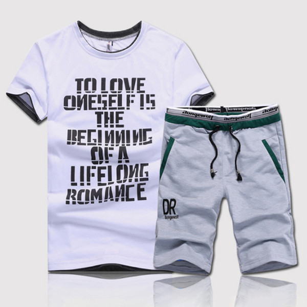 New Style Summer 2 Piece Men's Set Fitness Clothes Man Casual O-neck Letters Printed T-Shirt+ Drawstring Shorts Man Fitness Set