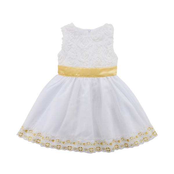 Bebè Bambino fiore delle neonate Abito da sposa festa di compleanno Paillettes maniche in tulle formale principessa Gown Dress Baby Girl 6M-4T