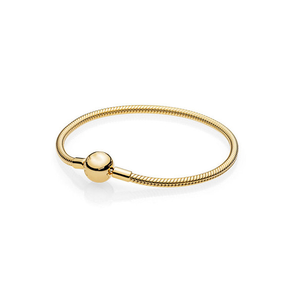Luxury Fashion Women Men0 18K Yellow gold plated Snake Chain Bracelets Original bag for Pandora s925 Sterling Silver Charms Bracelet