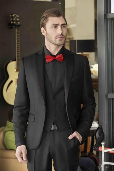 Groomsmen guapo Pico solapa Novios Tuxedos vestido de boda para hombre Chaqueta de Blazer Cena de baile Juego de 3 piezas (chaqueta + pantalones + corbata + chaleco) B40