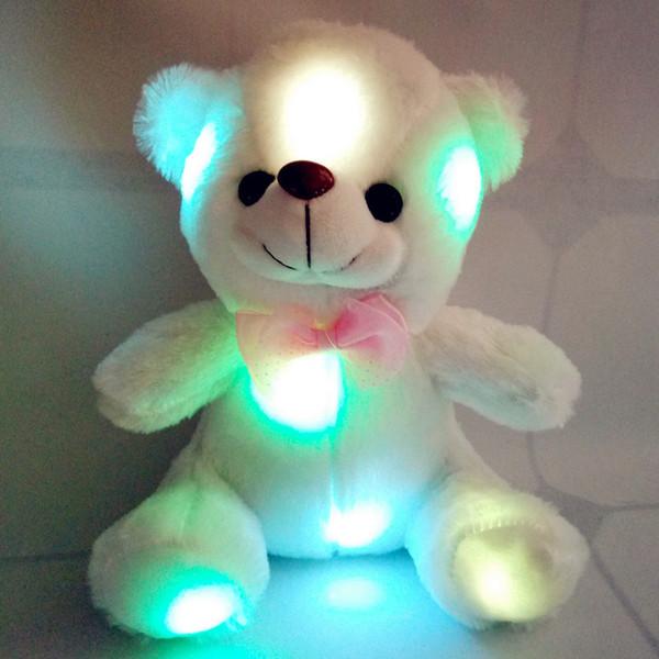 Красочный светодиодные Flash Light Медведь куклы Плюшевые животные мягкие игрушки Размер 20см-22см Медведь подарок для детей Рождественский подарок Фаршированные Плюшевые игрушки 12шт