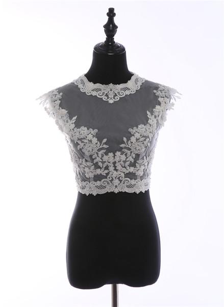 Delicate White Tulle beading Lace bolero jacket embroidery Wedding Shrug shoulders Sleeveless Lace Evening Dress Wedding Accessories