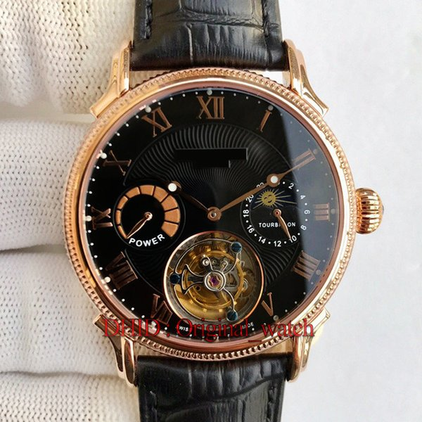 Luxury Mens Watch Automatic Tourbillon 72-hour Power Reserve Moon Phase Sapphire Italy Cowhide Leather Strap Black Dial 42mm 316L Steel Case