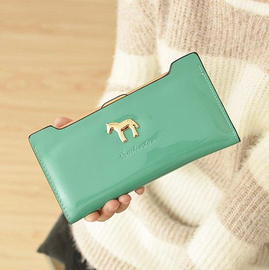 Cute Horse Women Wallets Lady Handbags Money Coin Purse Shine Pu Leather Clutch Wallet Moenybags Cards Holder Burse Purses Bag
