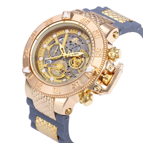 2019 INVICTA Luxury Gold Watch All sub dials working Men Sport Quartz Watches Chronograph Auto date rubber band Wrist Watch for male gift