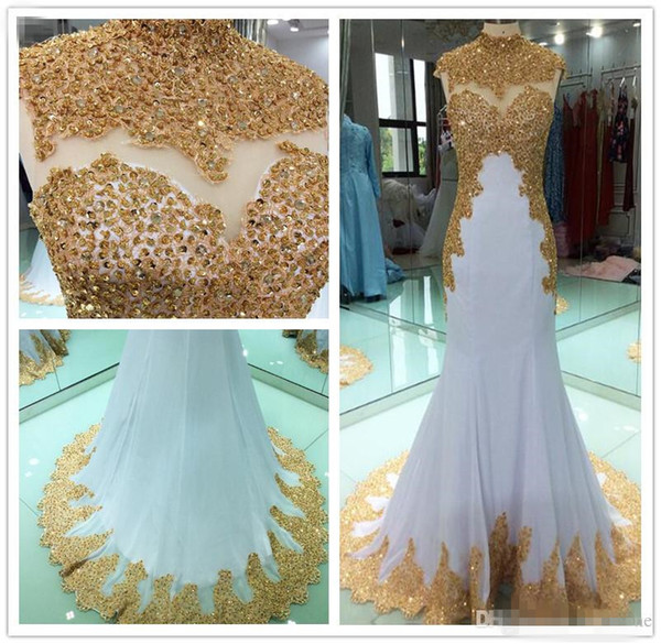 Long Evening Dress 2019 Mermaid High Neck Beads Crystal Gold Embroidery White Muslim Arabic Formal Party Prom Gown Robe De Soir