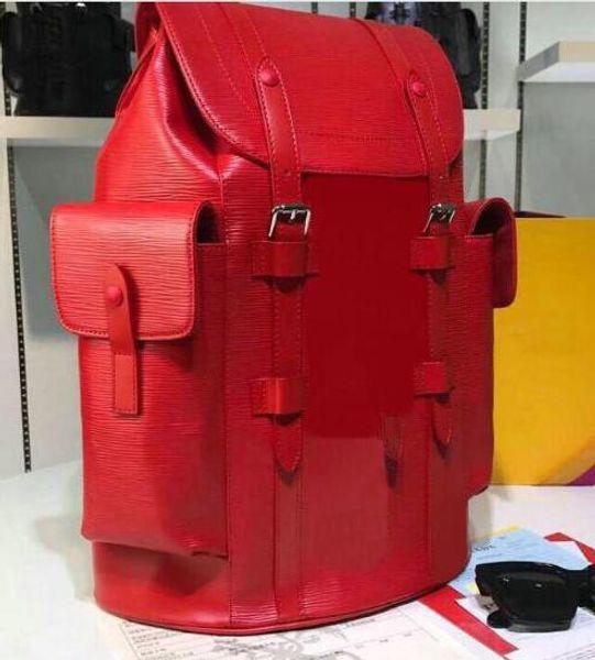 Knapsacking designer vermelho mochila de Couro Genuíno dos homens viajar mochila de viagem mochilas de moda CHRISTOPHER mulheres homens sacos de caminhadas bolsas