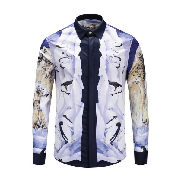 High quality medusa fashion men casual business poplin tops shirt long sleeve 3d printed tiger hawaii beach cheap men's clothes dress shirts