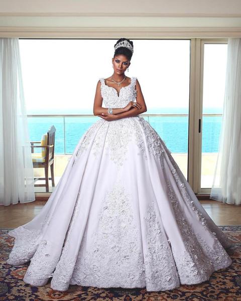 2019 Oriente Médio Branco vestido De Baile Vestidos De Casamento Appliques Sweep Train Querida Neck Vestido De Noiva vestido de novia BC1917