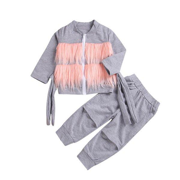 filles costumes filles Survêtements manteaux enfants + pantalon pantalon trou 2pcs / enfants set vêtements griffés layette A9956