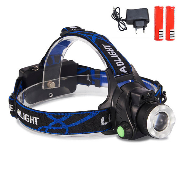 V9 LED Headlight XML T6 Zoomable Headlight con Sensor Impermeable Cabeza Antorcha linterna Lámpara principal Pesca Caza Luz uso 2 * 18650 batería