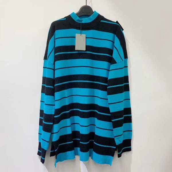 TOP 19FW BLCG High Collar Stripe Sweater Cotton Hip Hop Skateboard Sweaters Men Women Casual Coat Fashion HFLSMY062