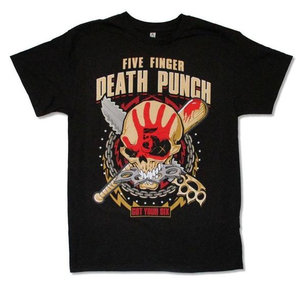 Five Finger Death Punch Circle Chain World Tour 2016 Mens Black T Shirt Adult Mens 2018 fashion Brand T Shirt O-Neck