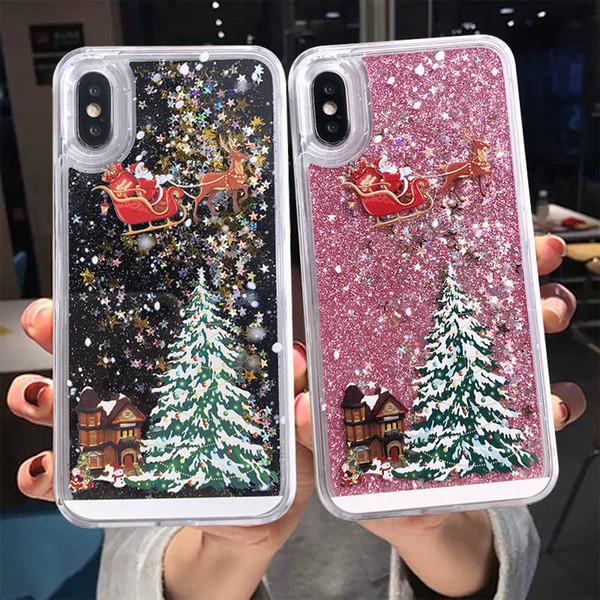 iPhone Para o Caso bom inverno Telefone 11 Pro XS xr max 6s 7 8 mais Natal Quicksand Giltter Capa para Samsung s10 S9 S8 além de nota 9 8 10 10 +