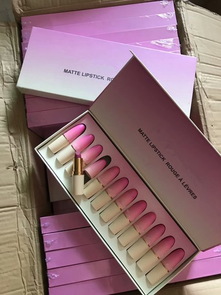Brand New Mc Matte Kit regalo rossetto in 12pcs Rouge A Levres liquido idratante naturale rossetto set lip gloss trucco grossista nave libera