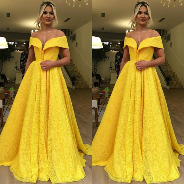 Yellow Elegant Prom Dresses Off Shoulder Short Sleeves Fashion Design Custom Made Lace Evening Dresses A Line Floor Length Girl Pageant Gown