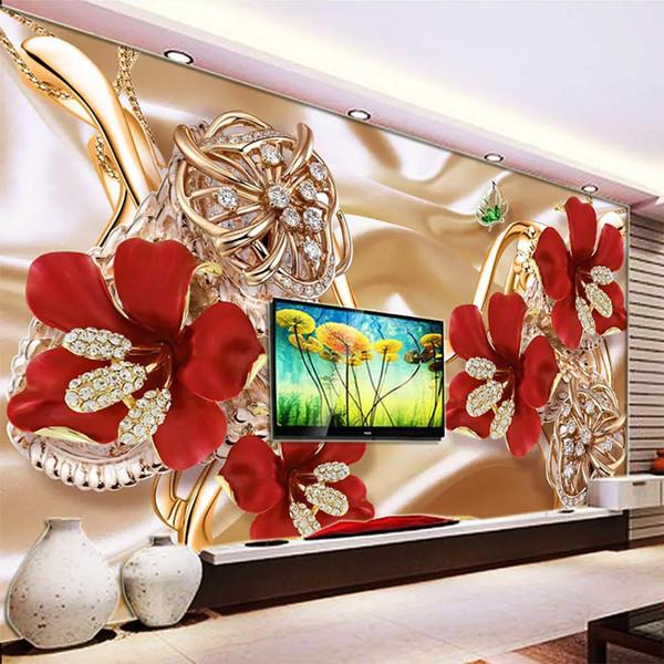 Benutzerdefinierte Größe Wandbild Moderne 3D Rich Schmuck Blume Luxus Tapete Schlafzimmer Wohnzimmer TV Hintergrund Vliestapete Rolle
