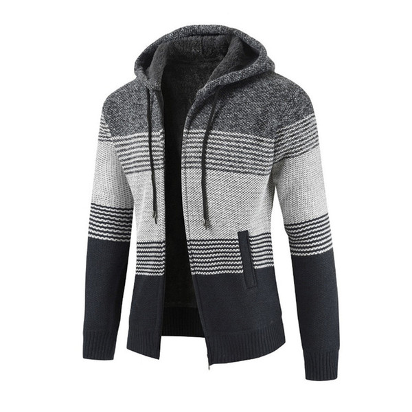 Mens hiver Cardigan Slim Pull rayé Blouse Tops Hommes Casual Automne Hiver Zipper Fleece Hoodie Outwear Manteau