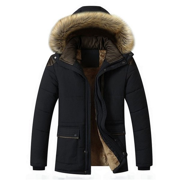 Classical Thickened Men Winter Warm Parkas Coat Boys Casual Long Faux Fur Outwear Cotton Coats Jacket With Hat
