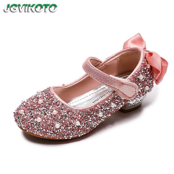 Enfants Chaussures Filles Enfants Mary Janes Cristal Bling Brillant Princesse Heeled Pour Fête de mariage Voir Big Girl Dress Shoes Bow-noeud