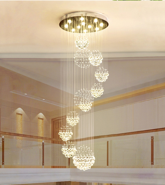 Modern chandelier large cry tal light fixture for lobby tairca e tair foyer long piral lu tre ceiling lamp flu h mounted tair light