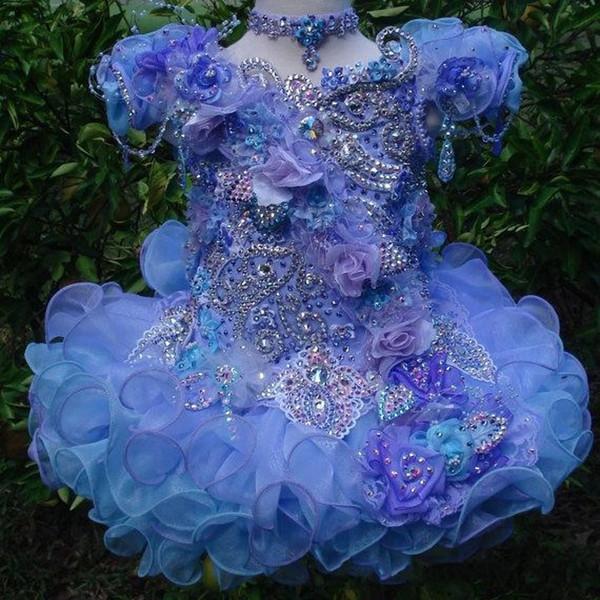 Glitz kurze Ärmel Perlen Eitelkeit lila mit Halskette Ballkleid Kuchenkleinkind kleine Mädchen Festzug Kleider Blumenmädchen für Hochzeiten