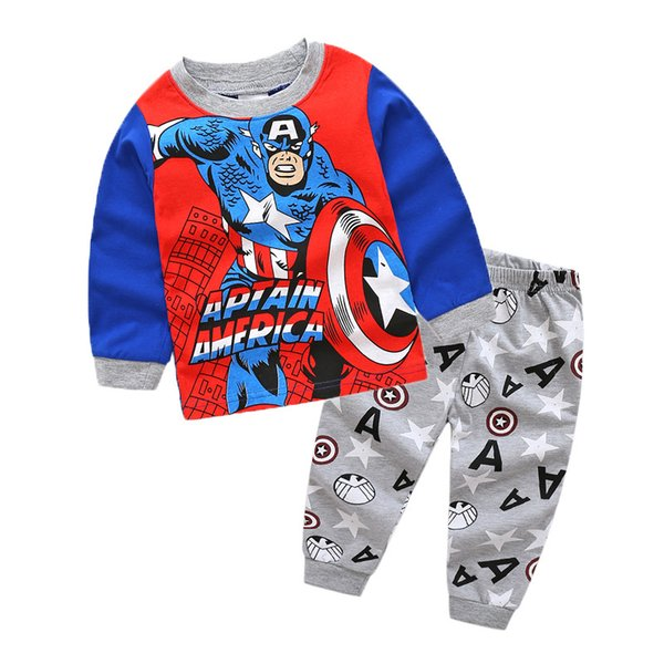 Spiderman Batman Captain America Kids Clothes Baby Boys Short Cotton T-shirt Childrens Summer colthing Sets TC190620W