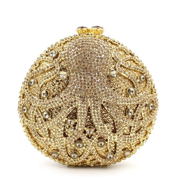 Dgrain Dazzling Gold Octopus Crystal Clutch Abend Handtasche Tasche Frauen Meer Tier Formale Abendessen Handtasche Hochzeit Braut Geldbörse Minaudiere Boxen