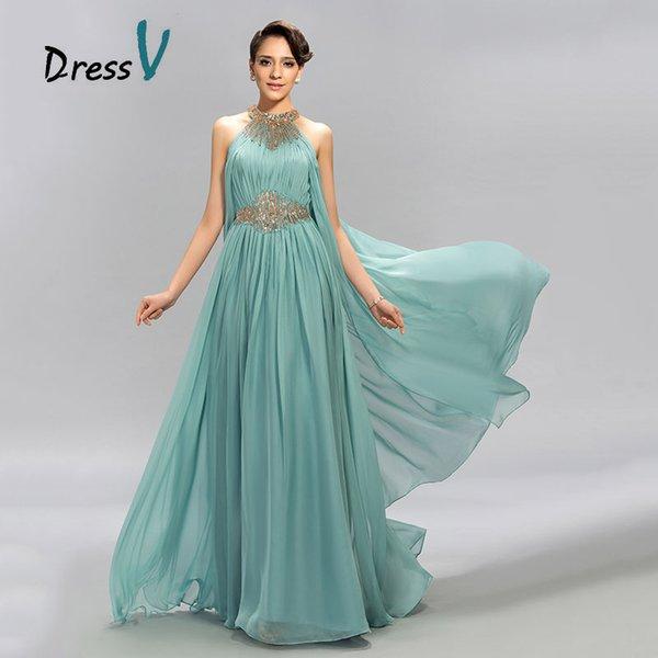 DressV Mint Blue Jewel Ausschnitt Chiffon Langes Abendkleid A-Line bodenlangen Perlen Rüschen Abendkleider Formelle Abendkleid