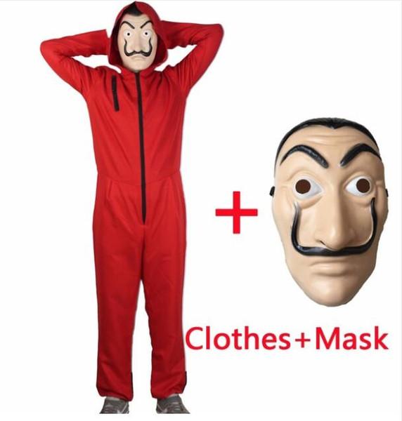Salvador Dali Film Kostüm Geldraub Das Haus aus Papier La Casa De Papel Cosplay Halloween Party Kostüme mit Gesichtsmaske