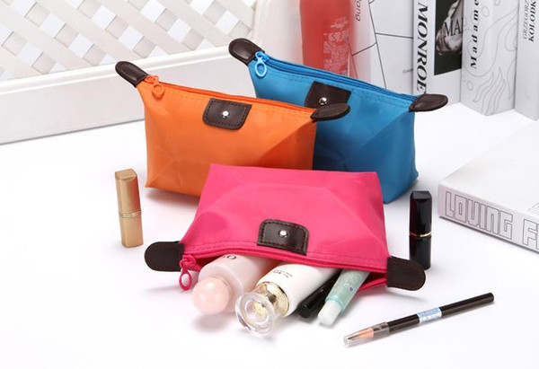 10 Colors High Quality Lady Foldable dumpling Cosmetic bag Make Up Bag Clutch Hanging Toiletries Travel Kit Jewelry Organizer Casual Purse