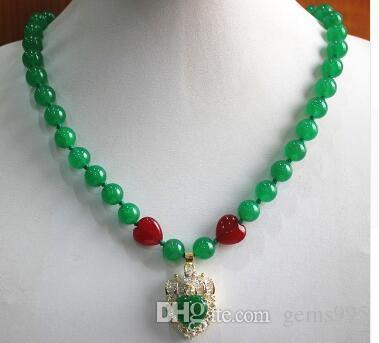 Shippingwholesales libre / al por menor simplemente 18inches estilo de 8 mm de jade verde collar + jades verdes de cristal colgante chapado