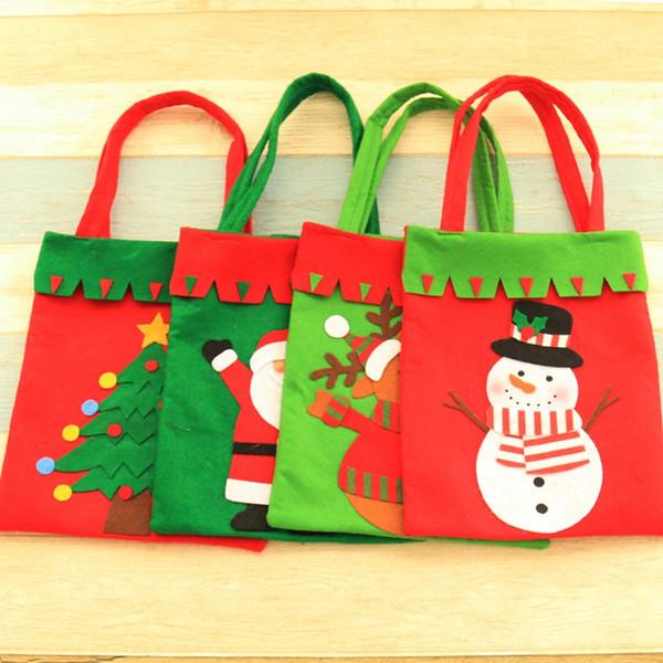 Non Woven Christmas Gift Bag Santa Claus Candy Bag Handbag Home Party Decoration Xmas Kids Gift 42*21 cm Christmas Decor C1026