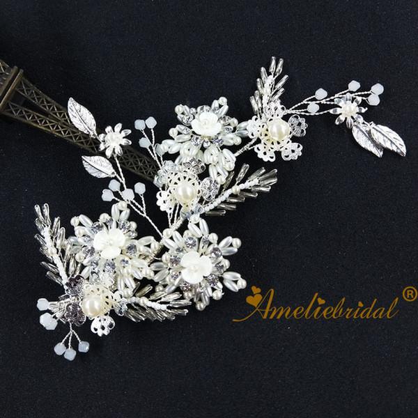 Fashion Wedding Bridal Hair Clip Pearl Flower Barrettes Silver Women Silver Headpiece Baby Shower Decoration Barrette