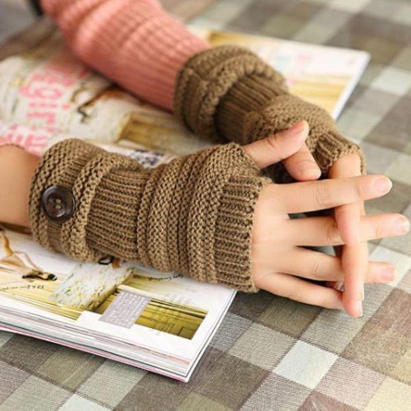 Navio livre marca homens novos das mulheres malha de pulso de malha de braço braço luva sem dedos quente botão de mão Mitten Handmade Fashion Luvas