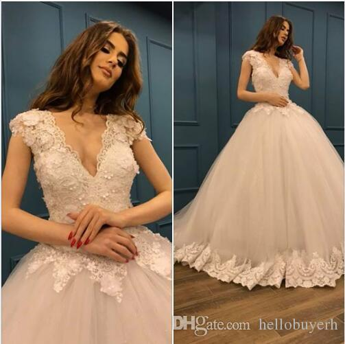 Monder V Neck Ball Gown Plus Size Wedding Dresses 2019 Tulle Beaded African Nigerian Lace Dress