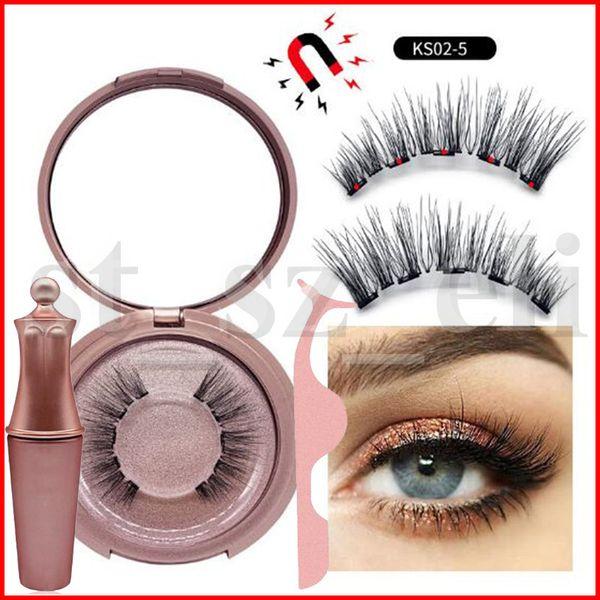 10 types Magnetic Liquid Eyeliner & Magnetic False Eyelashes & Tweezer Set Magnet False Eyelashes Set Glue Make Up Tools