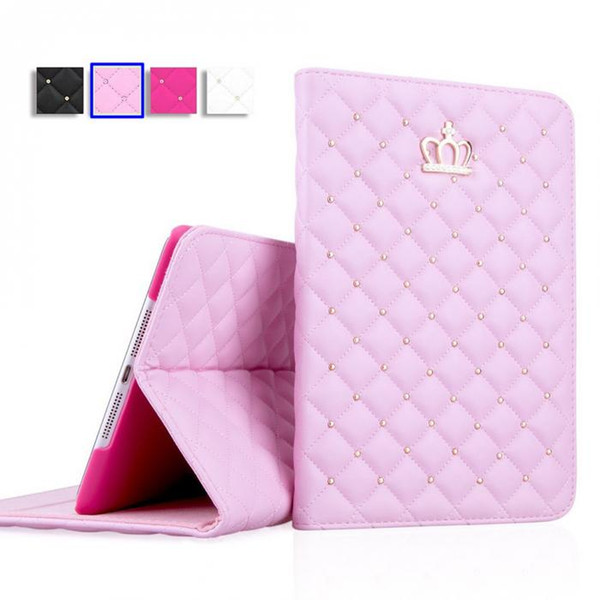 Flip Funda de cubierta para Tablet PC Funda de cuero con corona de diamante para iPad 3 4 Mini 2 3 Air 2 iPad Cases