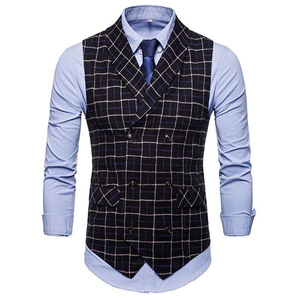 Die neue d Anzug Weste Männer Jacke Ärmellos Beige Grau Braun Vintage Tweed Weste Mode Frühling Herbst Plus Größe Weste