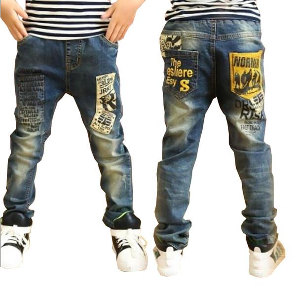 Enfants Vêtements Garçons Long Style Coton Jeans 3-13 Y Adolescente Automne Printemps Denim Pantalon Pantalon Décontracté Pantalon Y19062401