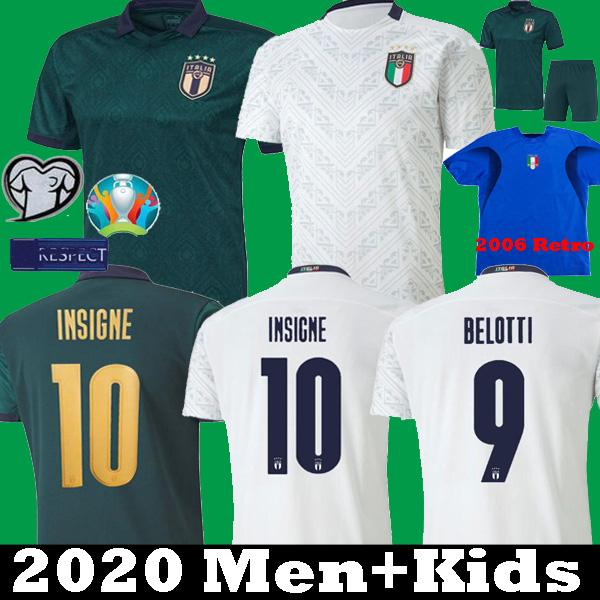 MAN + KIDS 2019 2020 ITALIE Maillot de football Coupe d'Europe 19 20 vert foncé CHIELLINI EL Shaarawy BONUCCI INSIGNE SHIRTS BERNARDESCHI FOOTBALL