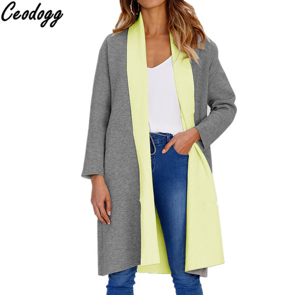Space Cotton Long Cardigan Female 2018 Autumn Winter Sweater Women Patchwork Long Sleeve Coat Loose Cardigan Femme