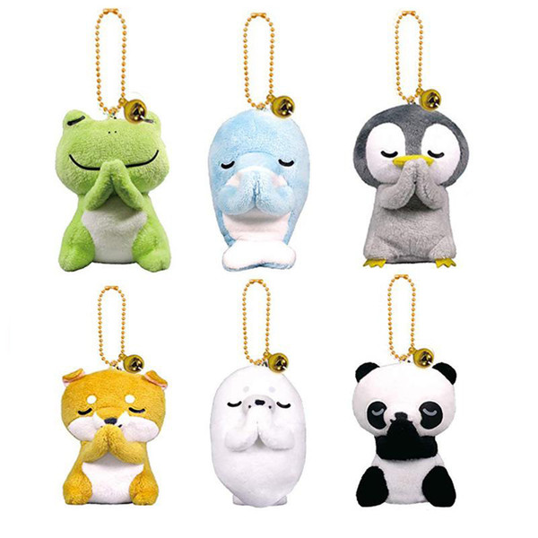 Nouveau 6 modèles 8cm peluche Creative Doll Frog Panda animaux en peluche Poupée de pingouin en peluche Souhaitant jouets Pendentif porte-clés enfants Jouets